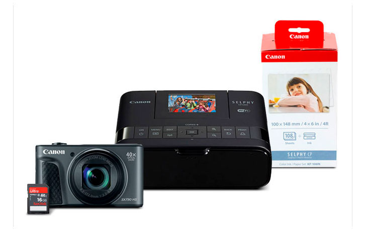 Deal: Refurbished PowerShot SX730 HS & CP1200 Photo Printer with free ink/paper set (108 prints), 16GB SD Card $199 (Reg $419)